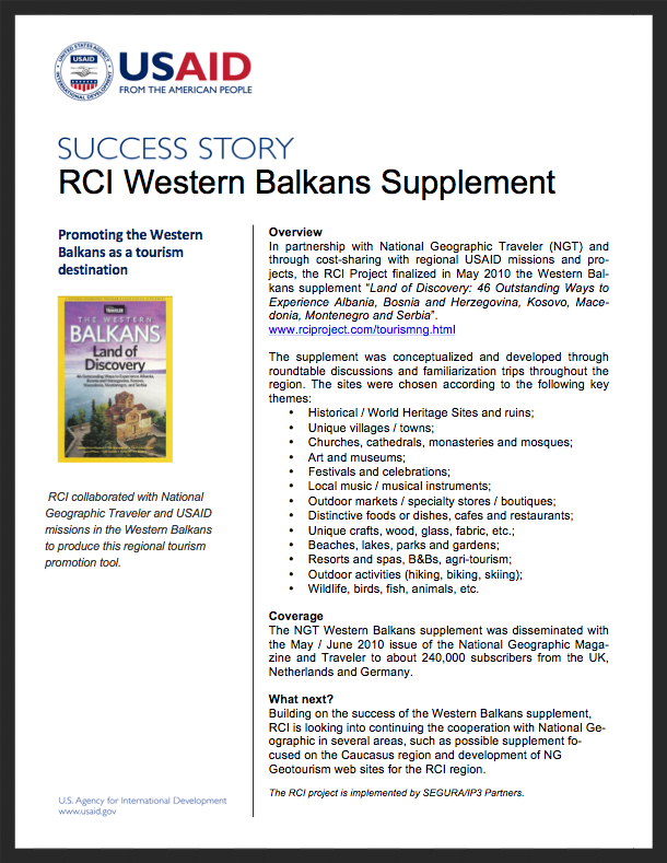 RCI Success Stories: Western Balkans Supplement