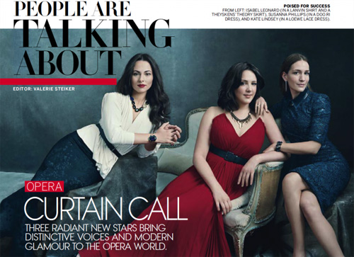 People are talking about Kate being featured in Vogue magazine alongside Isabel Leonard and Susanna Phillips...
