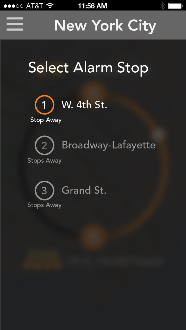 4. Turn on and pick which stop before your destination you want to wake up at.
