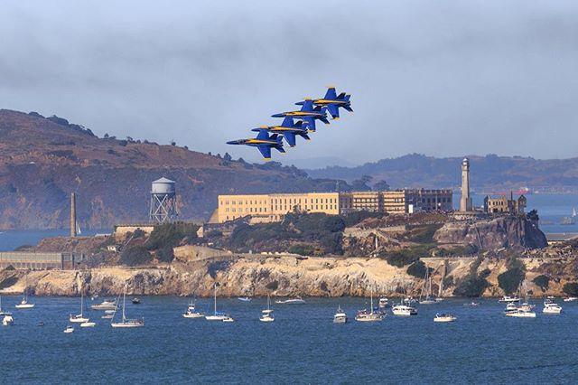 @usnavy Blue Angels flying over Alcatraz as part of San Francisco Fleet Week 2017 #blueangels #alcatraz #sanfrancisco #canon6d #canonphotography #latergram