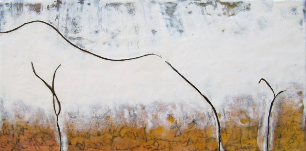 Disconnect , 2009 / Encaustic on wood panel, 12 x 24 / Sold