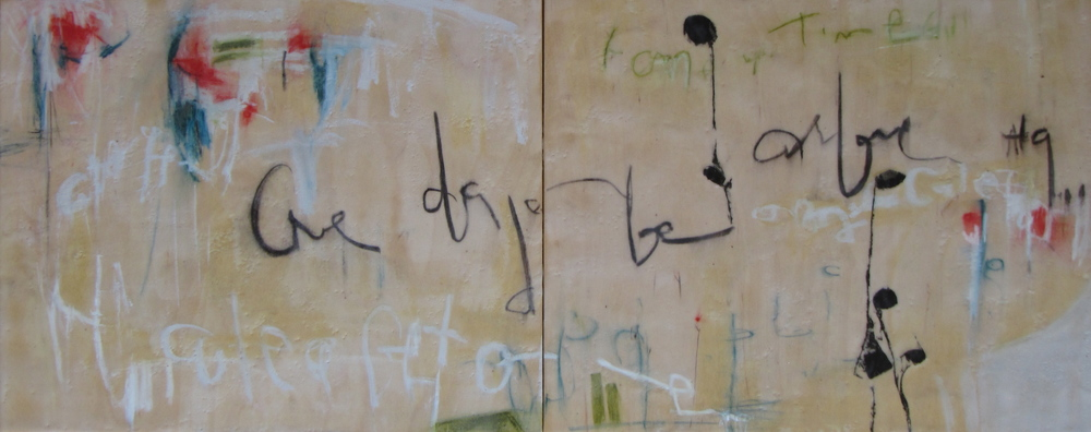 The Writing on the Wall, 2011  /  Encaustic on wood panel, diptych, 16 x 40