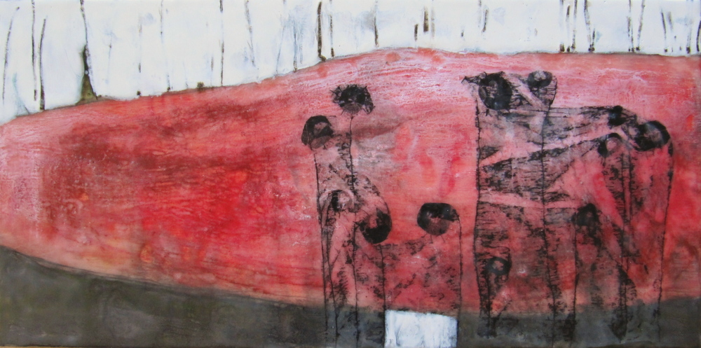 Underneath, 2008 / Encaustic on wood panel, 12 x 24 / Sold