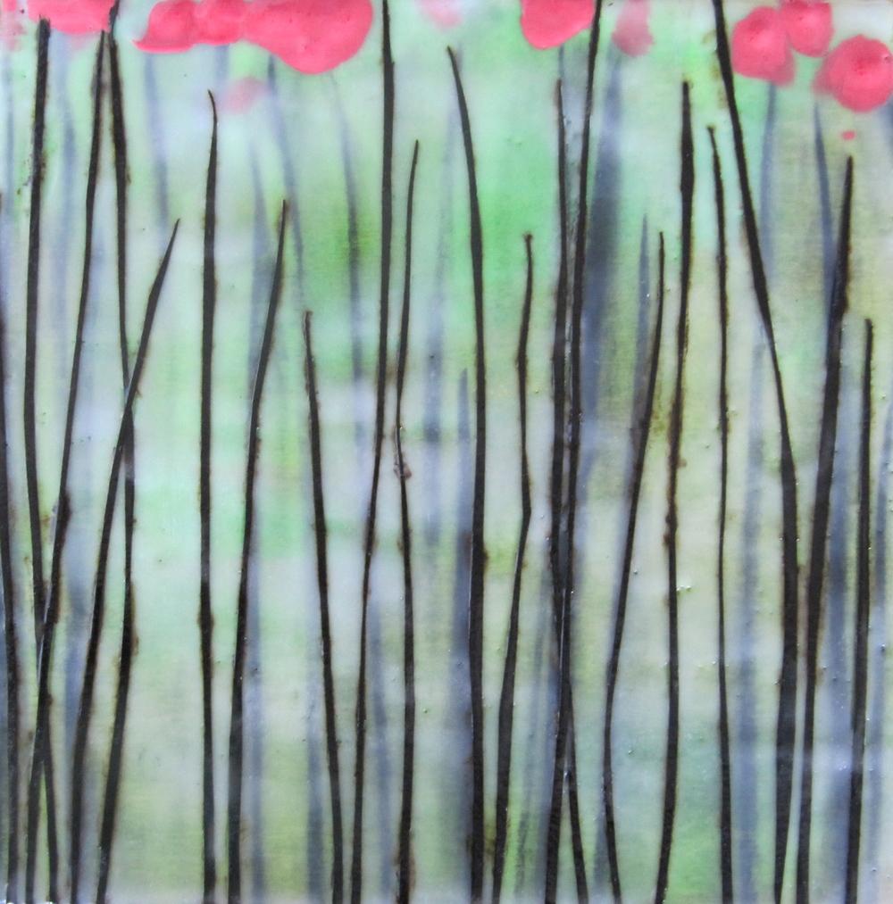 Flora,2011/ Encaustic on wood panel, 10 x 10/ Sold