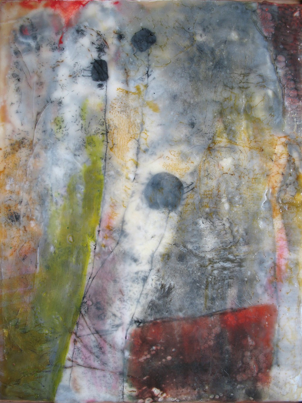 Pandora, 2008  /  Encaustic on wood panel, framed, 12 x 15
