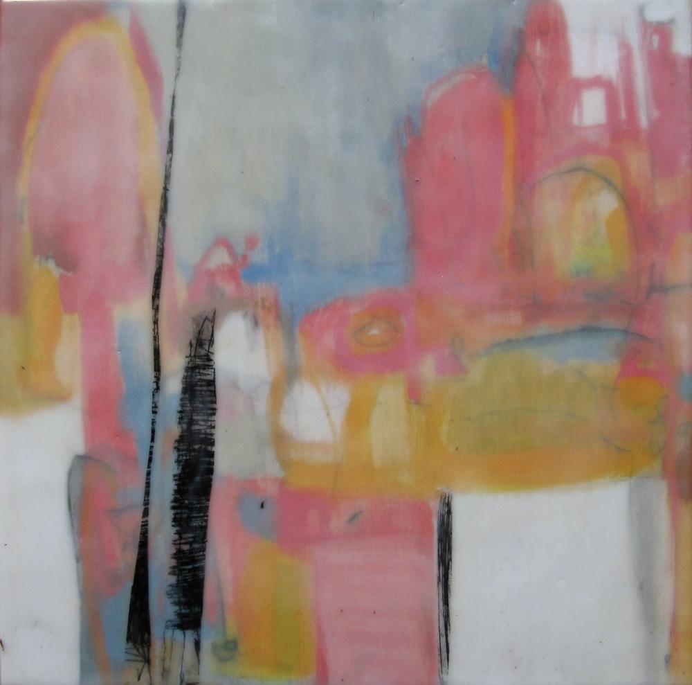 Dreamscape II, 2009 / Encaustic on wood panel, 12 x 12