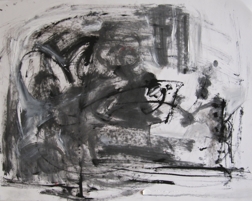Widowing Sea, 2013  /  Ink, oil and charcoal on paper (unmounted and unframed), 19 x 24