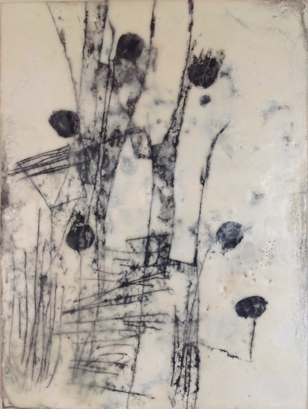 Cycles + Structures, 2012/ Encaustic on wood panel,9 x 12
