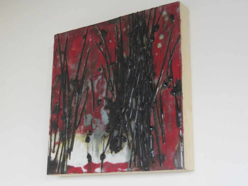Persephone's Winter,2015/ Encaustic on wood panel, 12 x 12
