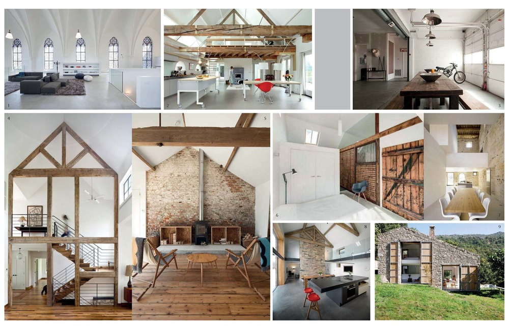 1.  Sacred Space Reinvention  2.  Modern barn Conversion I   3.  Industrial Garage Living Space  4.  Modern Barn Conversion II  5.  Modern Barn Conversion III  6.  Stable House  7.  Casa Olivi  8.  Old Yorkshire Barn  9.  Stone Barn   10.  Live/Work Factory