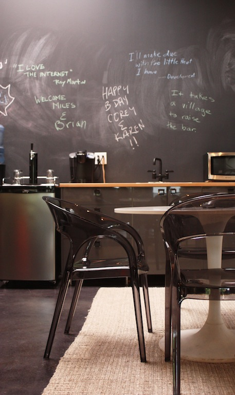 Chalkboard wall with modern chairs