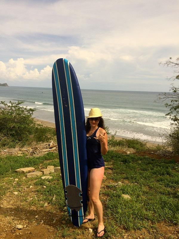 Designer Tessa, surfing in Nicaragua