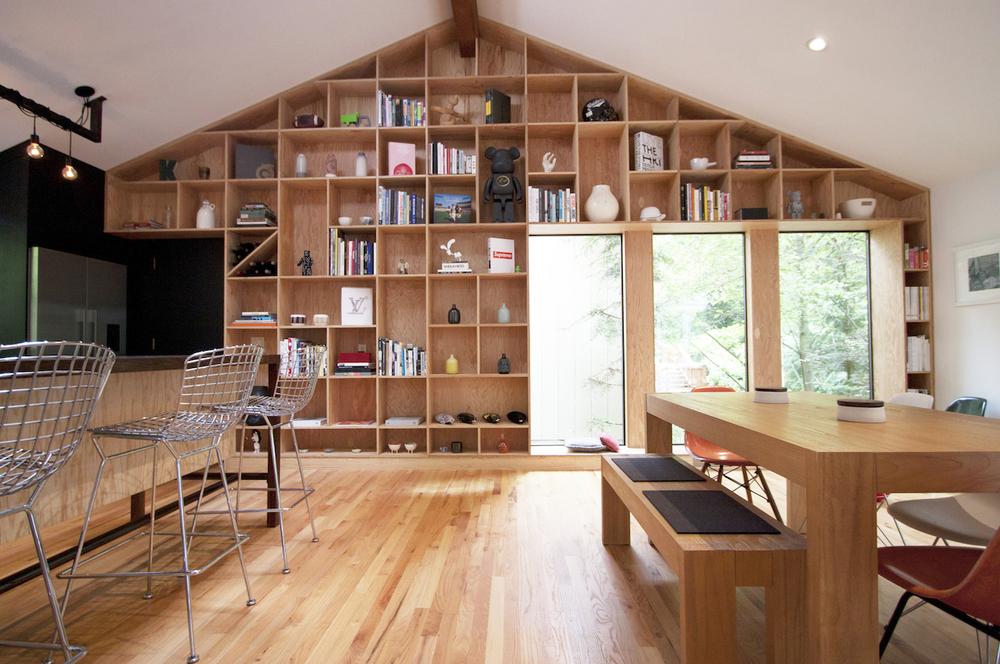 Fun, bright plywood treehouse