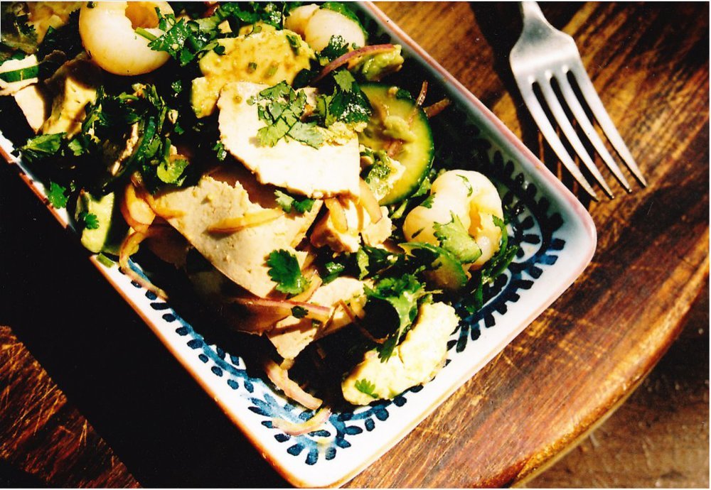Smoked Tofu, Lychee & Avocado Salad