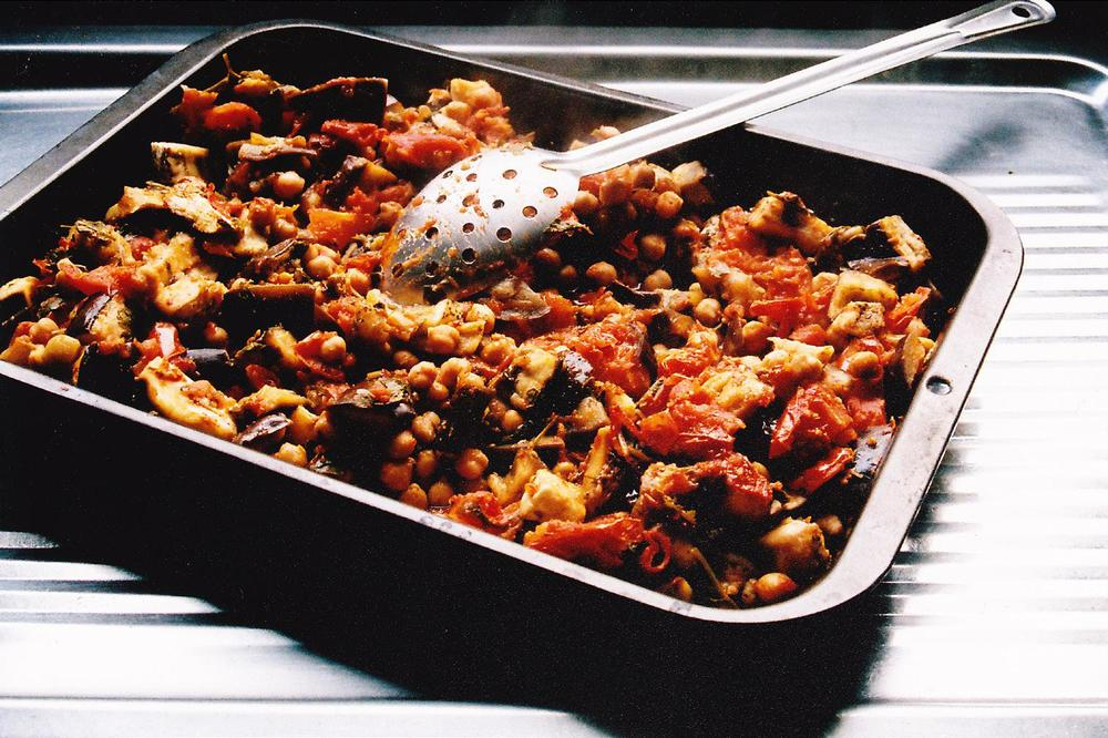 Eggplant or Chicken Baked with Tomatoes