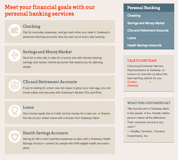 Personal banking services page