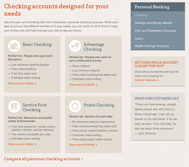 Personal checking page