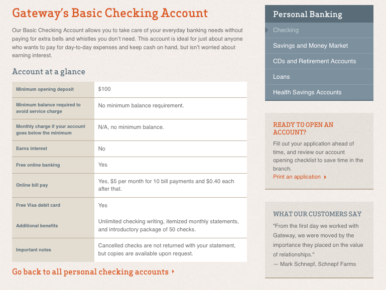 Account detail page