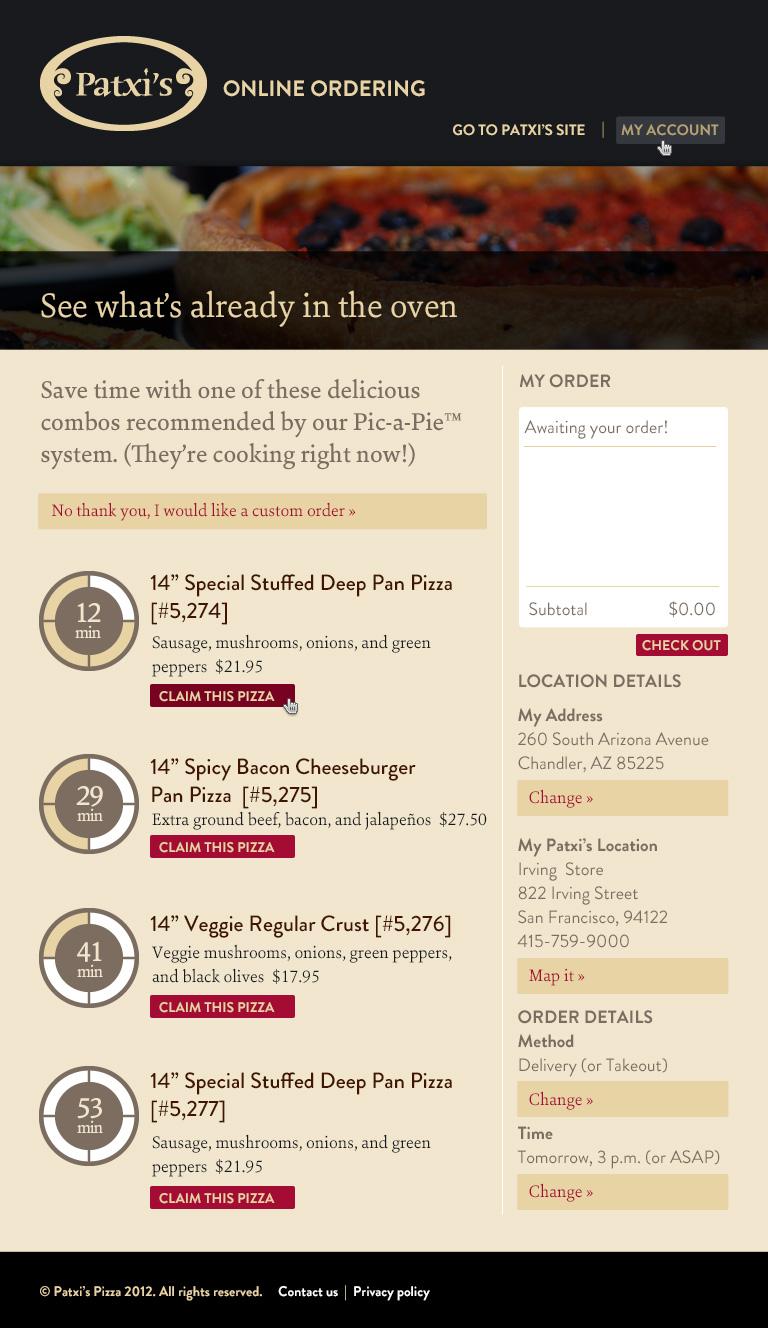 Online ordering system screenshot
