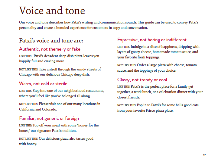 Voice and tone guidelines