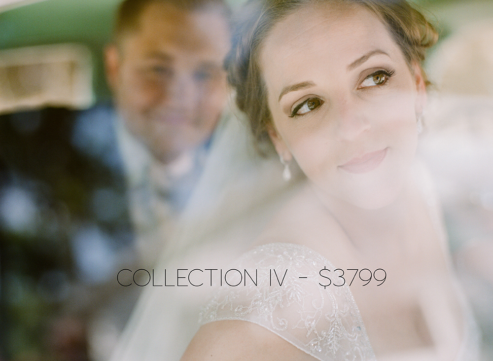 COLLECTION IV INCLUDES THE FOLLOWING: UP TO 8 HRS OF COVERAGE ONLINE GALLERY WITH PRINT ORDERING 50 PAGE COFFEE TABLE ALBUM OR 2ND PHOTOGRAPHER FILM/INSTANT FILM SLIDESHOW UNLIMITED FULL RESOLUTION IMAGES VIA DOWNLOAD
