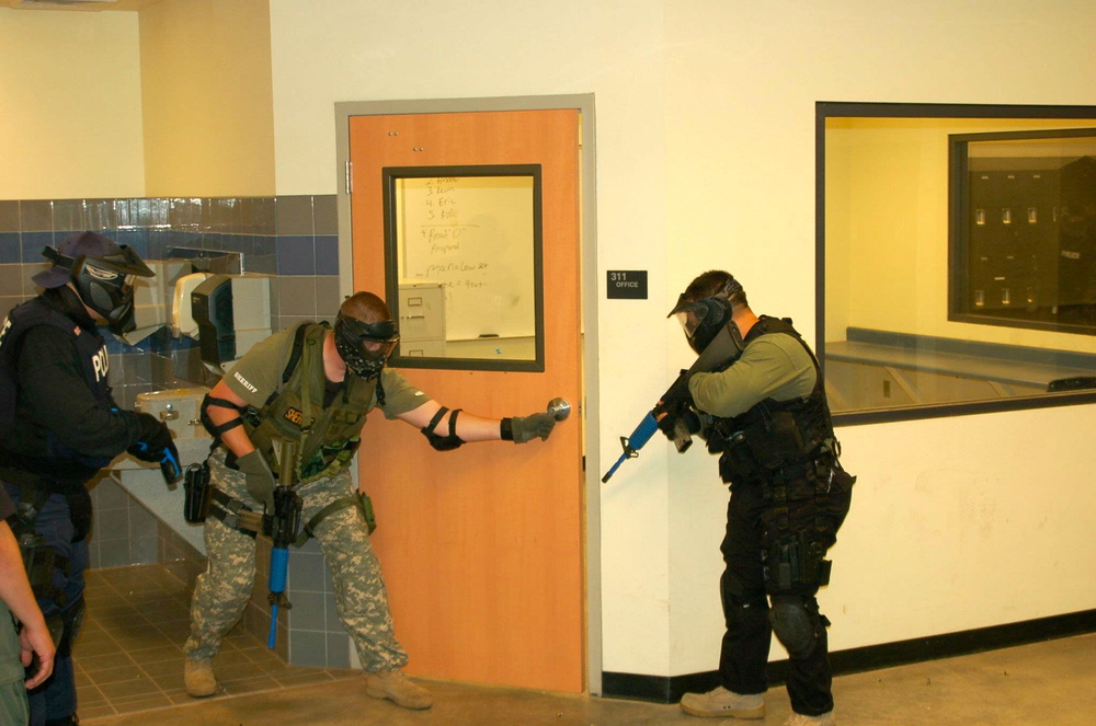 Student learn the concepts of working in small teams in order to defuse the threat when engaging an active shooter scenario.