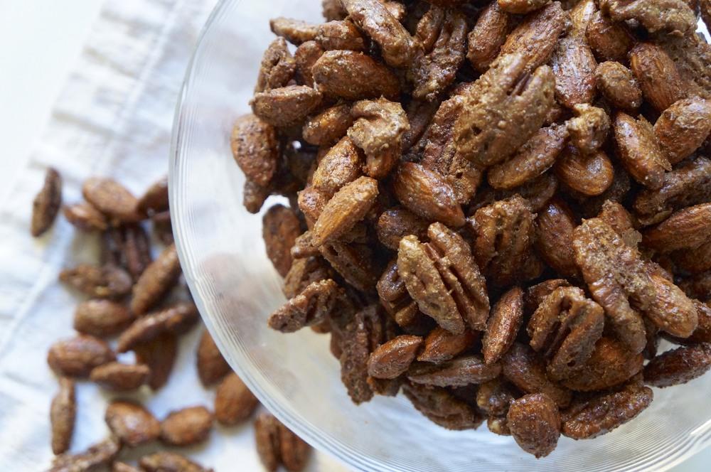 candied pecans and almonds via sarahdigrazia.com