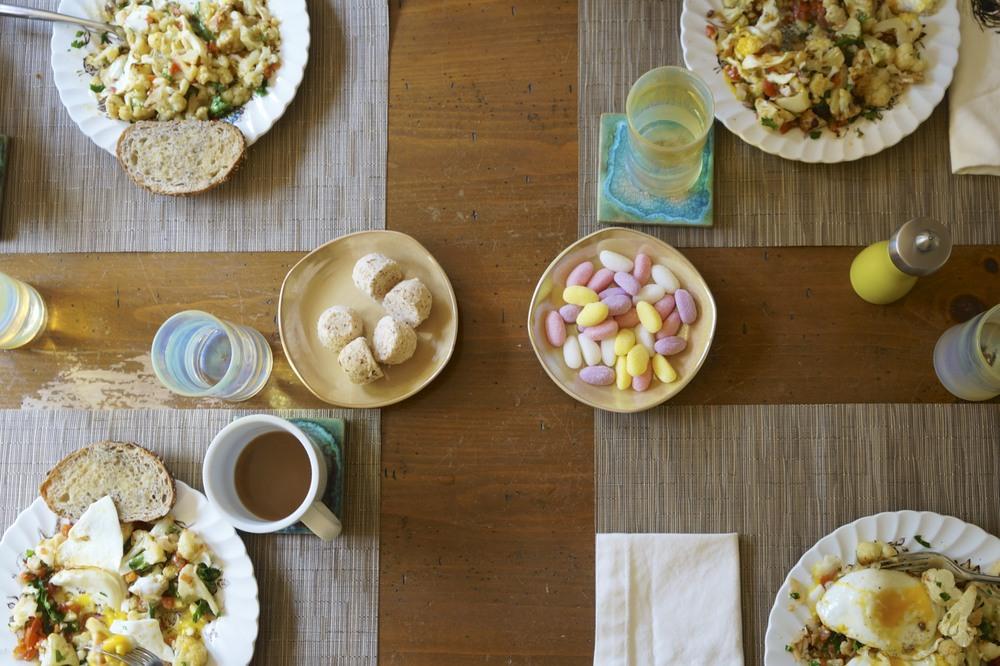 roasted cauliflower with fried eggs via sarahdigrazia.com