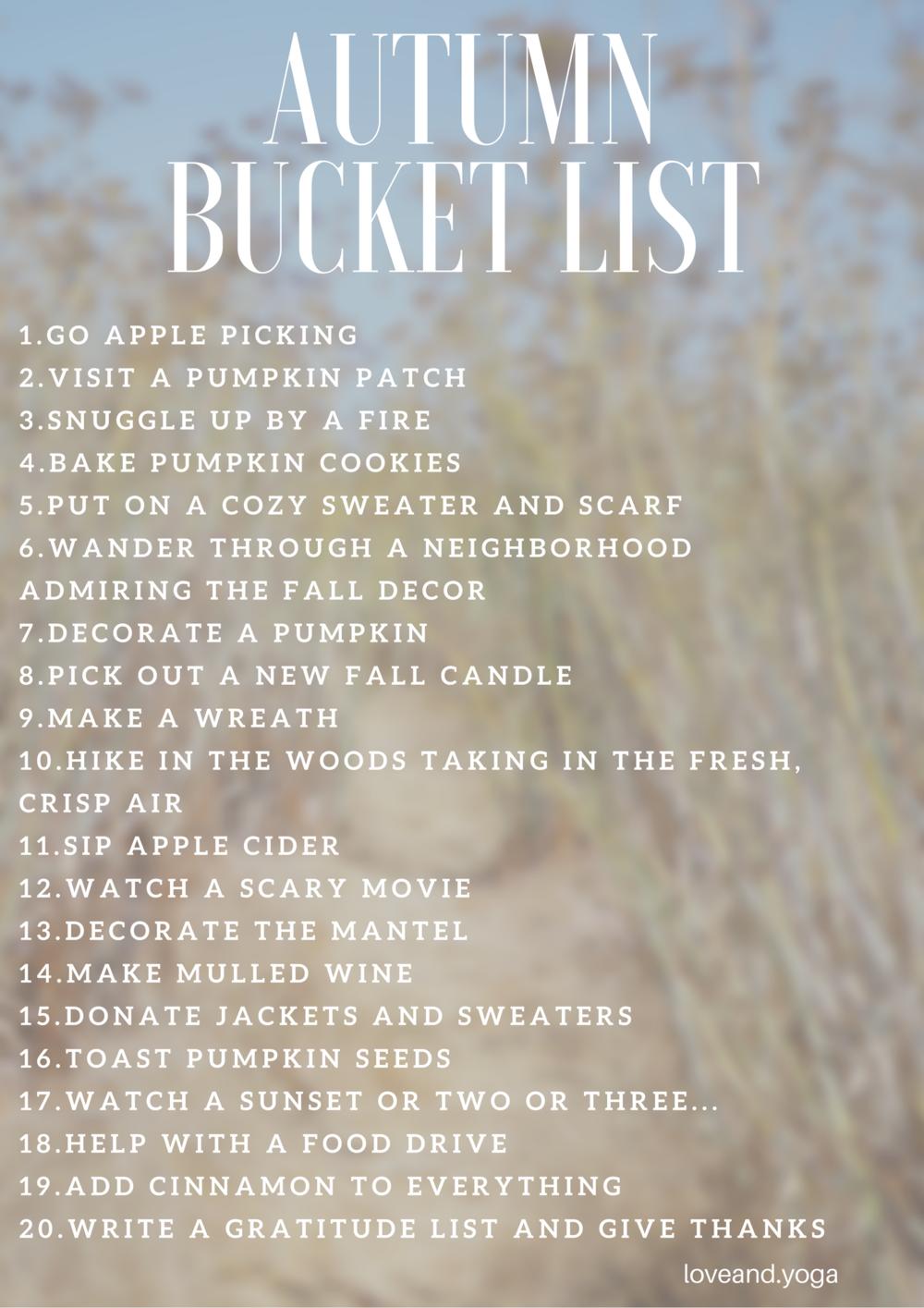 the autumn bucket list