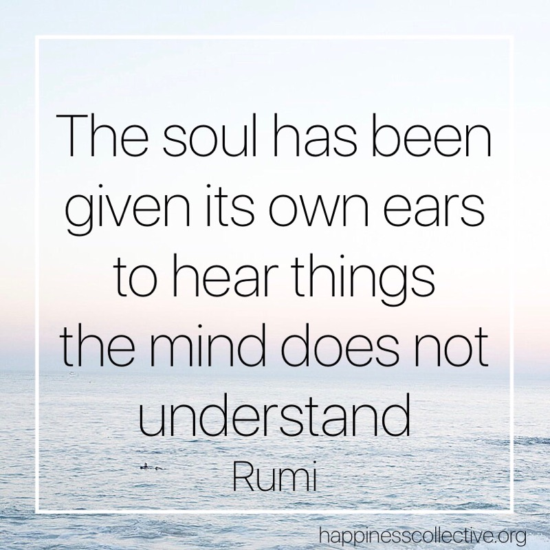 The soul has been given its own ears to hear things the mind does not understand. - Rumi