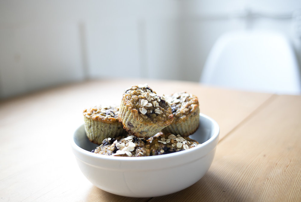gluten free, refined sugar free, Blueberry lemon vanilla oatmeal muffins