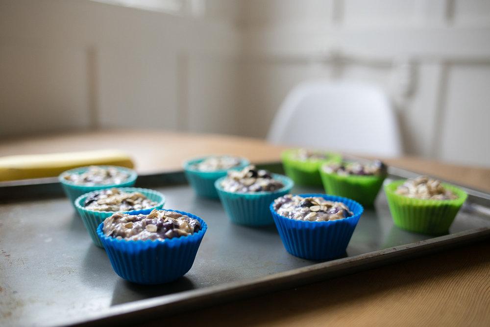 Gluten Free, refined sugar free blueberry lemon vanilla vanilla oatmeal muffins