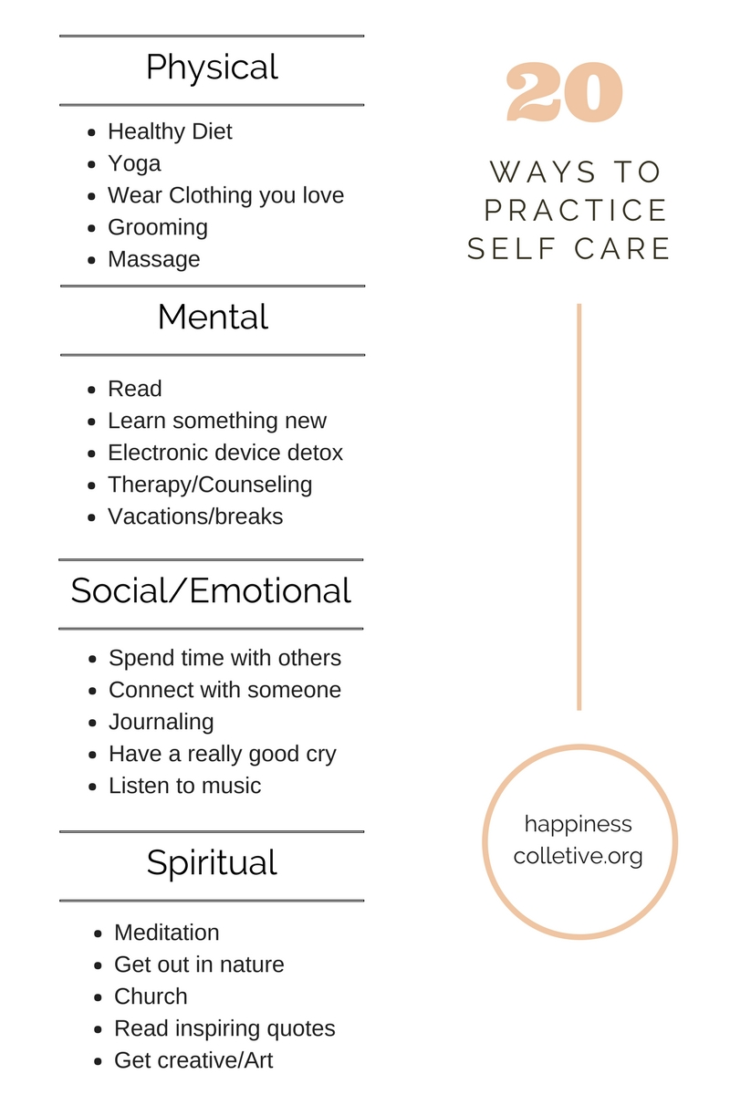 20 ways to practice self care. happinesscollective.org