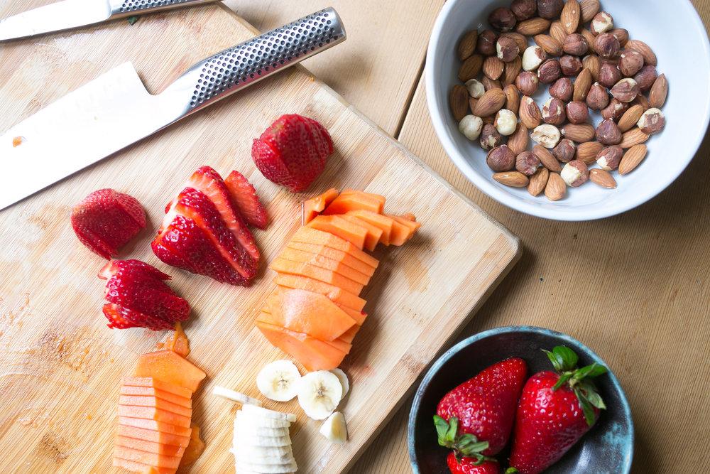 Tulum inspired smoothie bowl fruit