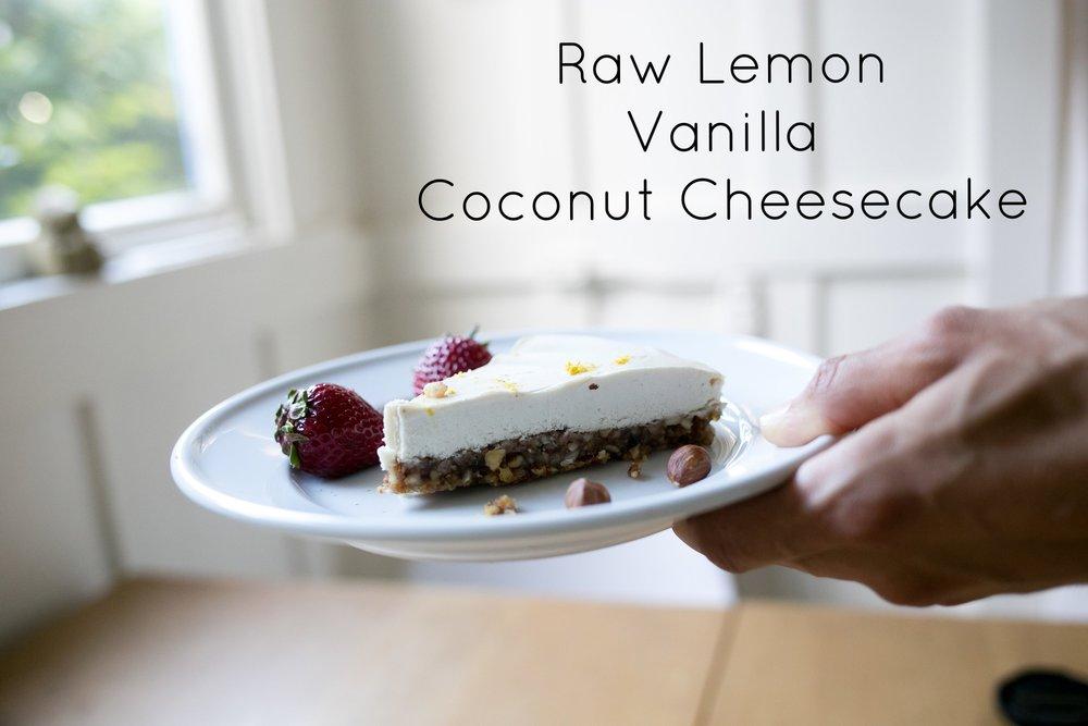 Raw Lemon Vanilla Coconut Cheesecake