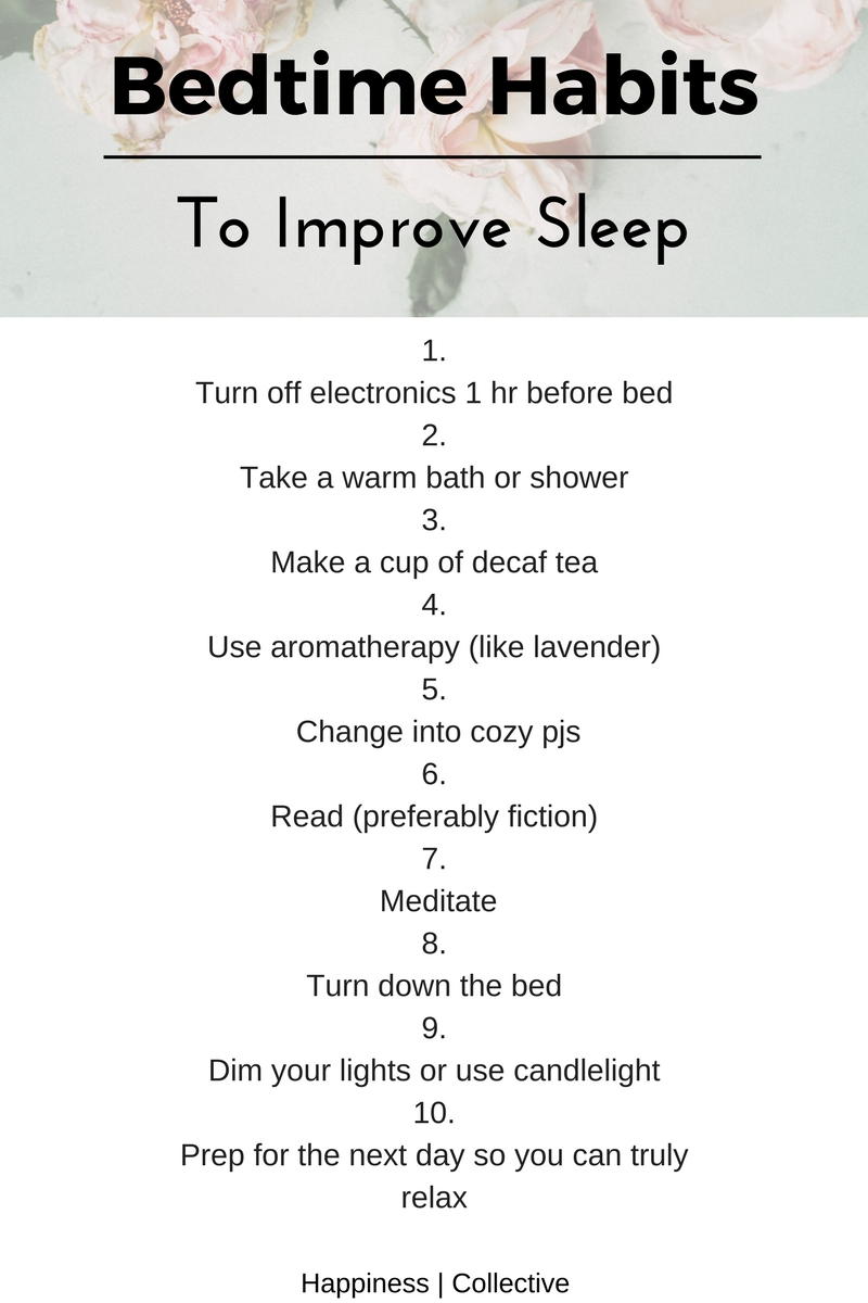 Bedtime habits to improve sleep from Happiness | Collective