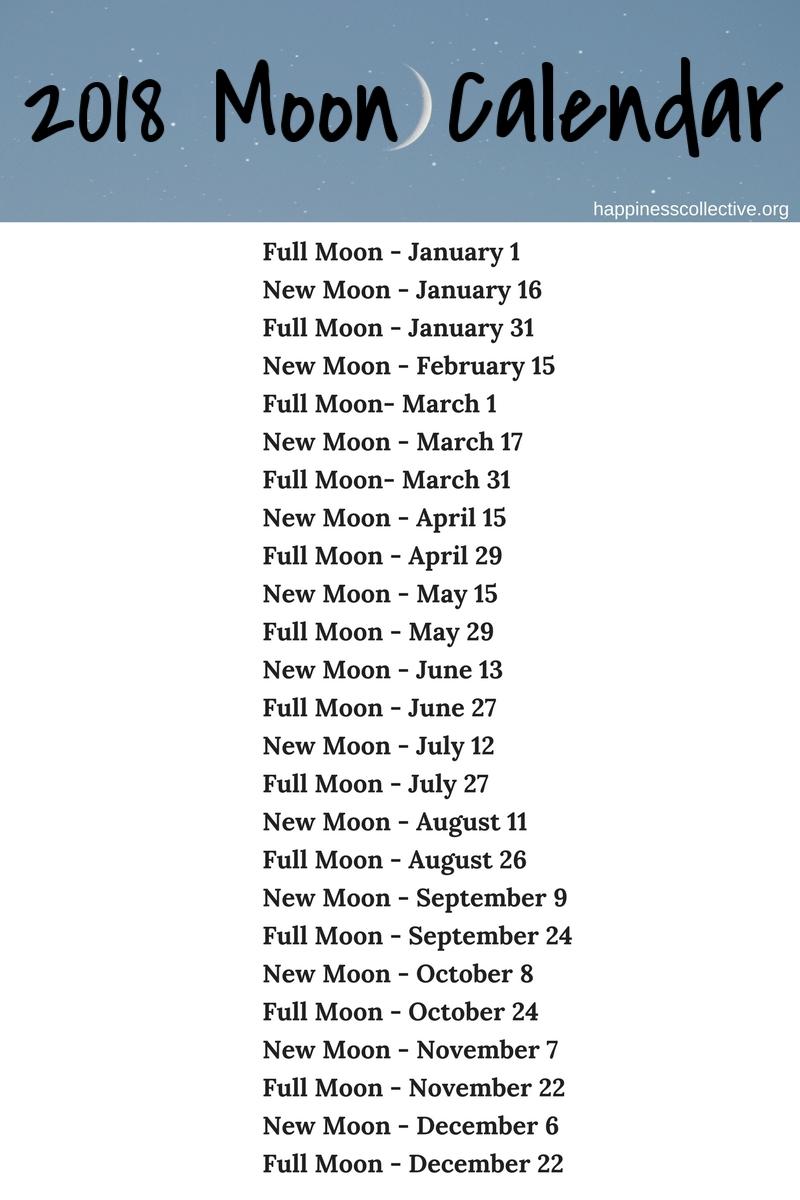 2018 Moon Calendar