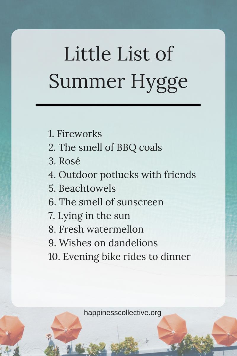 Little list of summer hygge