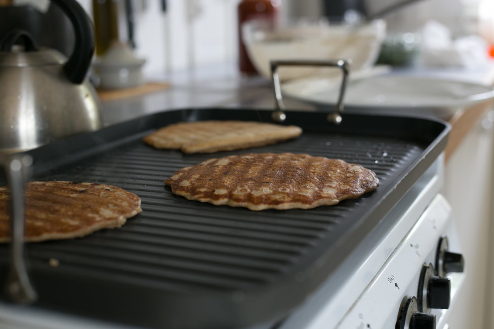 earthy sourdough pancakes