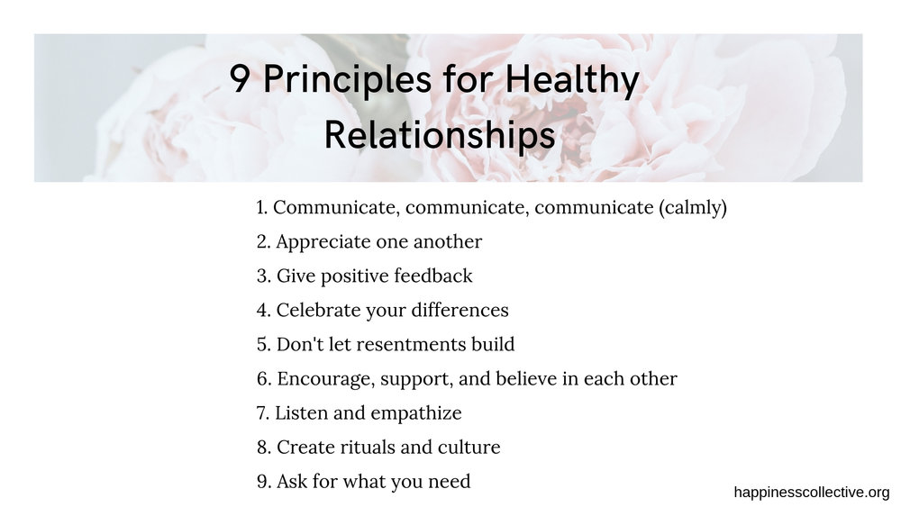 9 principles for Healthy relationships