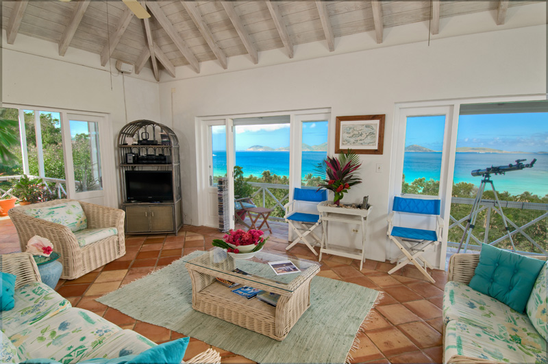 SummerSalt Villa great room looking out to Smuggler's Cove and Jost Van Dyke