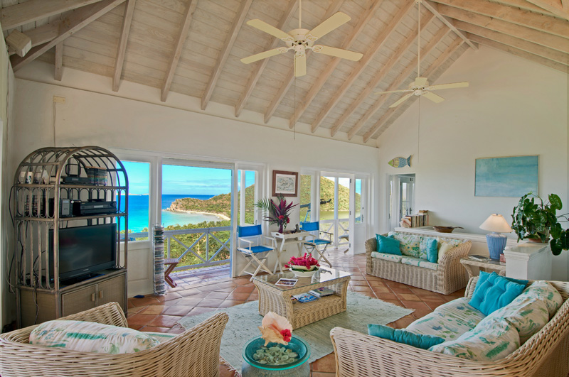 SummerSalt Villa great room looking out to Smuggler's Cove and Belmont Point