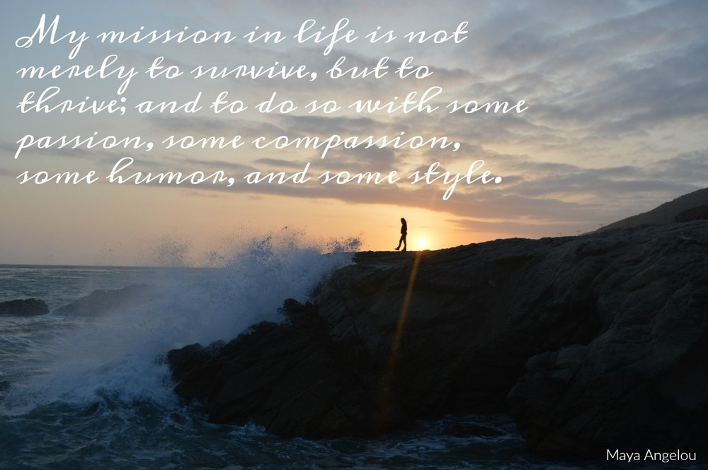My mission in life is not merely to survive, but to thrive; and to do so with some passion, some compassion, some humor, and some style' Maya Angelou. Circle of Daydreams. www.circleofdaydreams.com
