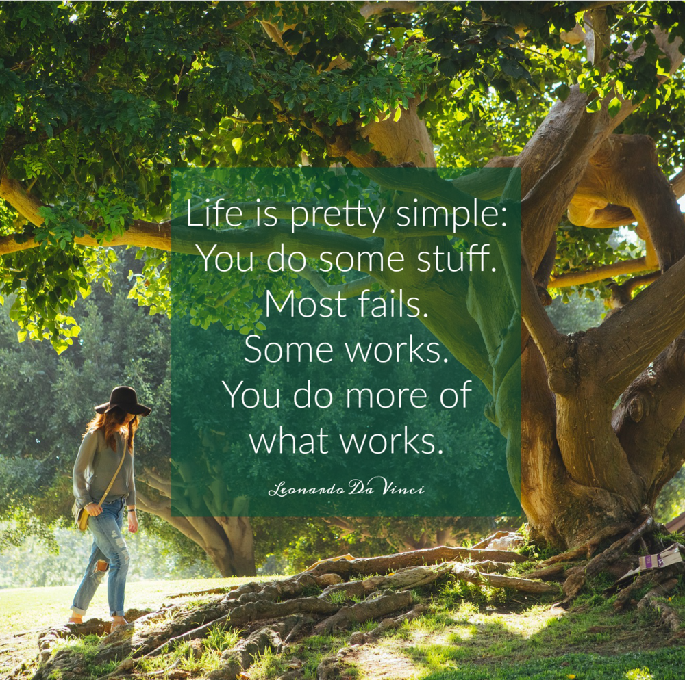 Life is pretty simple. You do some stuff. Most fails. Some works. You do more of what works. Leonardo Da Vince. Circle of Daydreams. www.circleofdaydreams.com