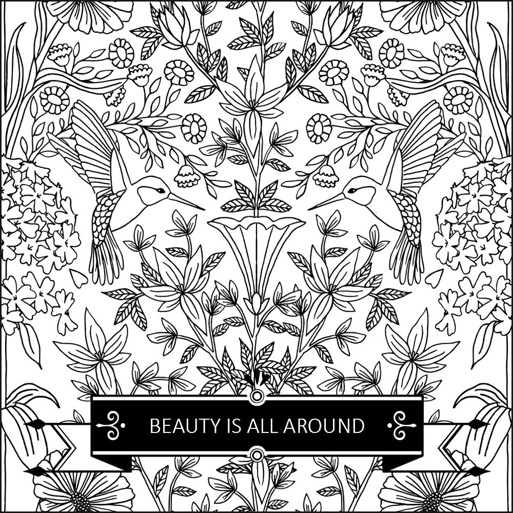 Beauty is all around us. Colouring page from The Garden of Gratitude. Circle of Daydreams.