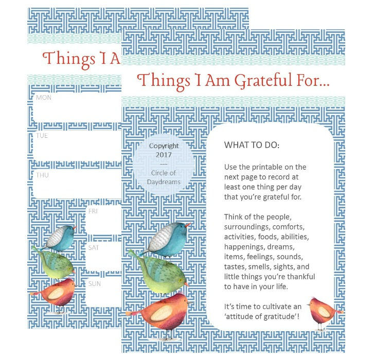 Things I Am Grateful For. A Gratitude Journal Page. Circle of Daydreams. www.circleofdaydreams.com