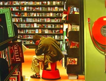 The Thinker- painting of boy reading in bookstore painting by artist Gerard Boersma