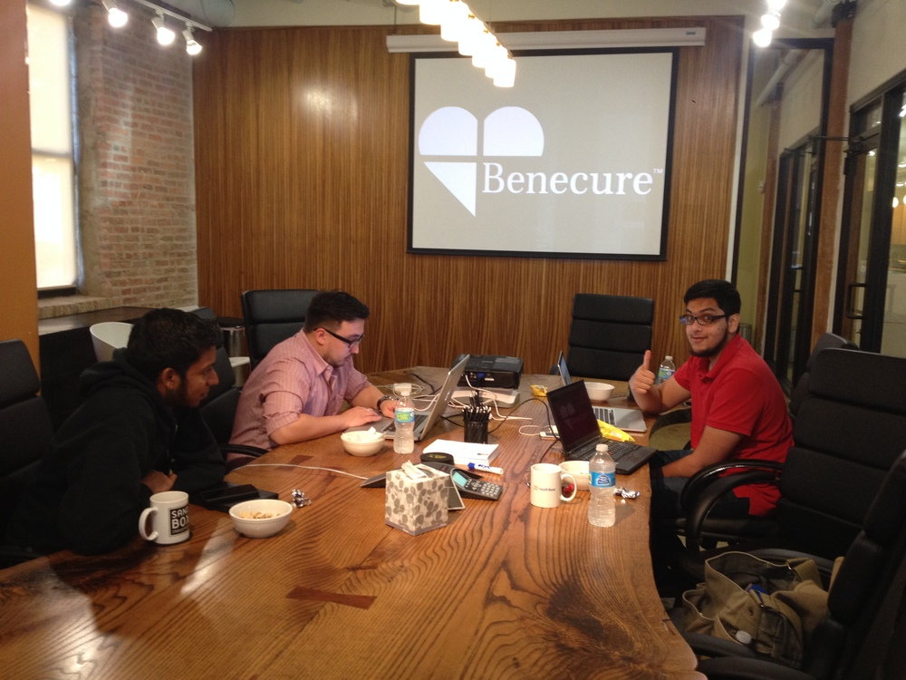 Part of the Benecure Tech team working hard at the Healthbox offices.
