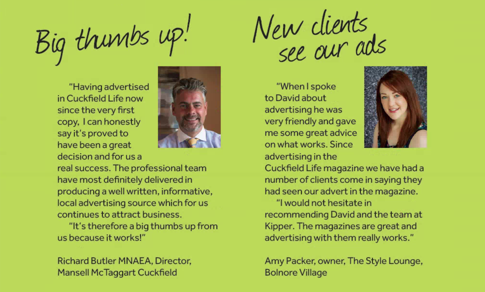 Richard Butler & Amy Packer talk about their successful advertising in Cuckfield, with Cuckfield Life magazine