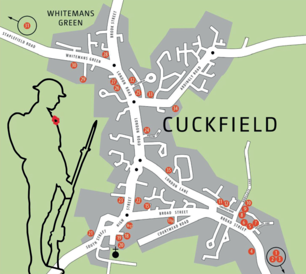 Map of Cuckfield Remembers events